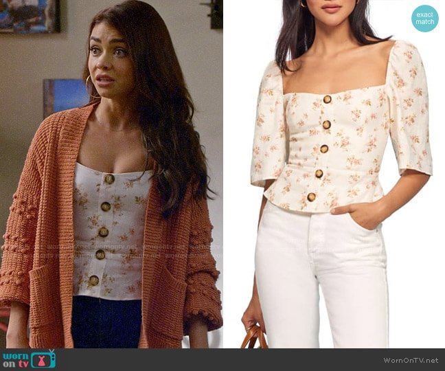 Reformation Augusta Top in Mildred worn by Haley Dunphy (Sarah Hyland) on Modern Family