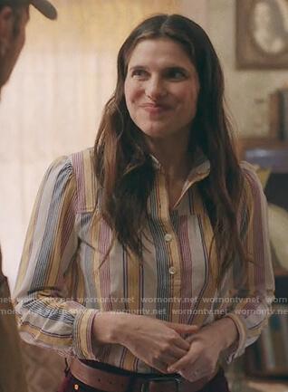 Rio's stripe linen blouse on Bless This Mess