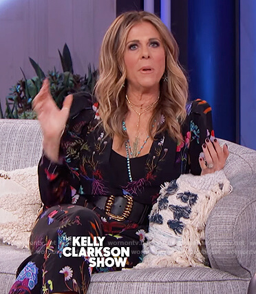 Rita Wilson's black floral jumpsuit on The Kelly Clarkson Show