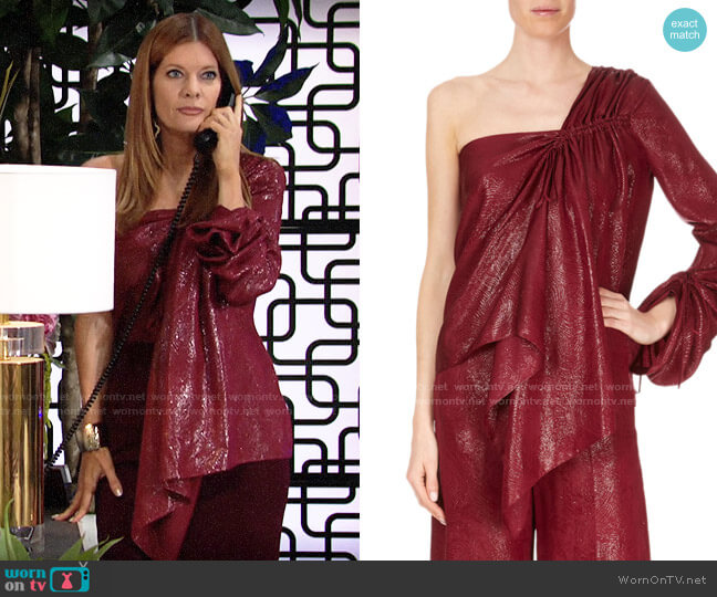 Roland Mouret One-Sleeve Metallic Draped Blouse worn by Phyllis Summers (Michelle Stafford) on The Young & the Restless