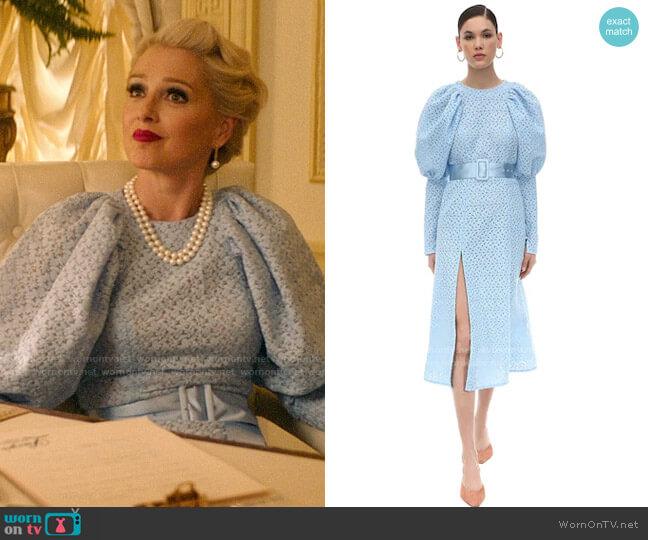 Rotate Eyelet Lace Midi Dress worn by  Gloria Grandbilt (Katherine LaNasa) on Katy Keene