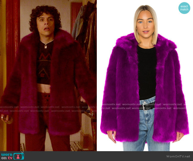 RtA Kate Faux Fur Jacket worn by Jorge Lopez (Jonny Beauchamp) on Katy Keene