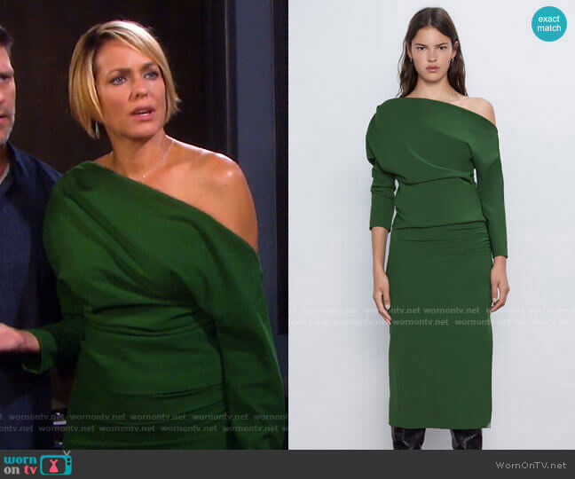 Ruched Sleeve Top and Midi Pencil Skirt by Zara worn by Nicole Walker (Arianne Zucker) on Days of our Lives