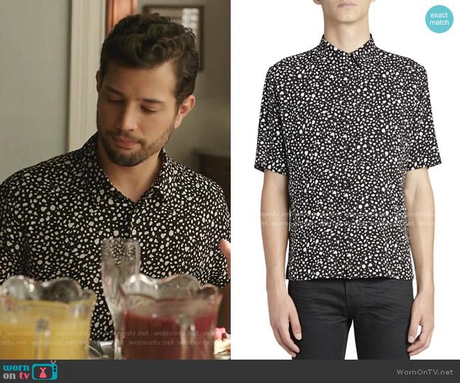 Pebble-Print Short-Sleeve Shirt by Saint Laurent worn by Sam Flores (Rafael de la Fuente) on Dynasty