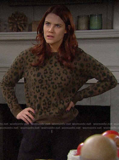Sally's olive green leopard sweatshirt on The Bold and the Beautiful