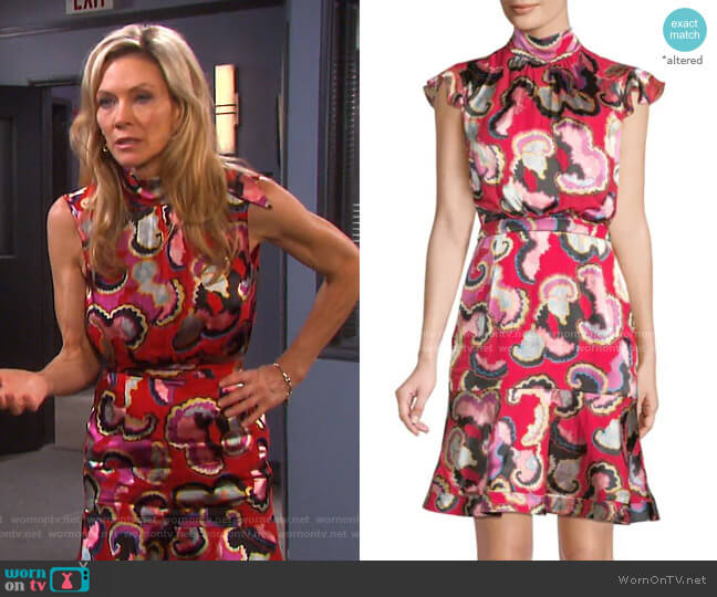 Phoebe Print Dress by Saloni worn by Kristen DiMera (Stacy Haiduk) on Days of our Lives