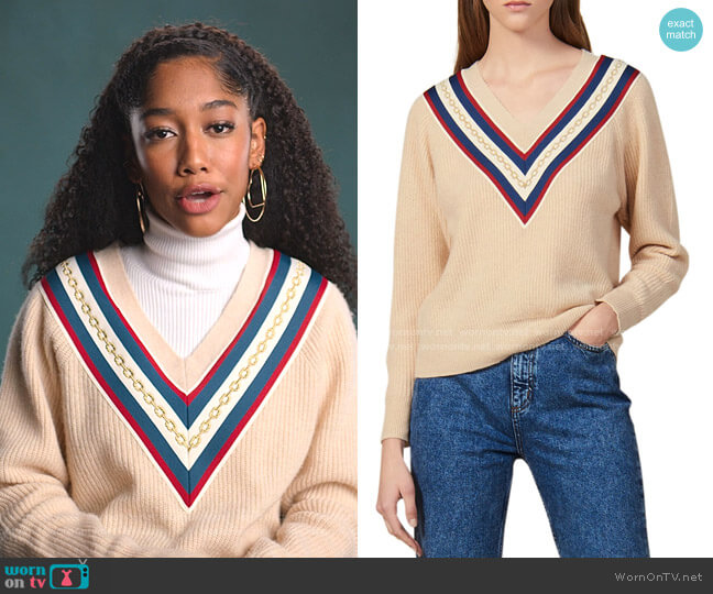 Chains V-Neck Sweater by Sandro worn by Drea Barris (Iman Benson) on BlackAF