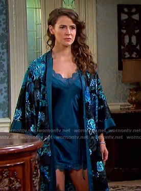 Sarah's black and teal floral robe on Days of our Lives