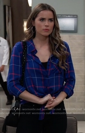Sasha's blue checked shirt on General Hospital