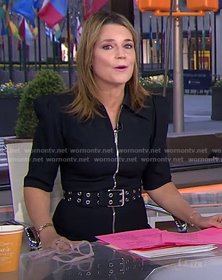 Savannah's black zip front belted dress on Today