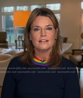 Savannah's rainbow crewneck sweater on Today