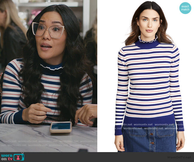Turtleneck Ribbed Sweater by Scotch & Soda worn by Doris (Ali Wong) on American Housewife