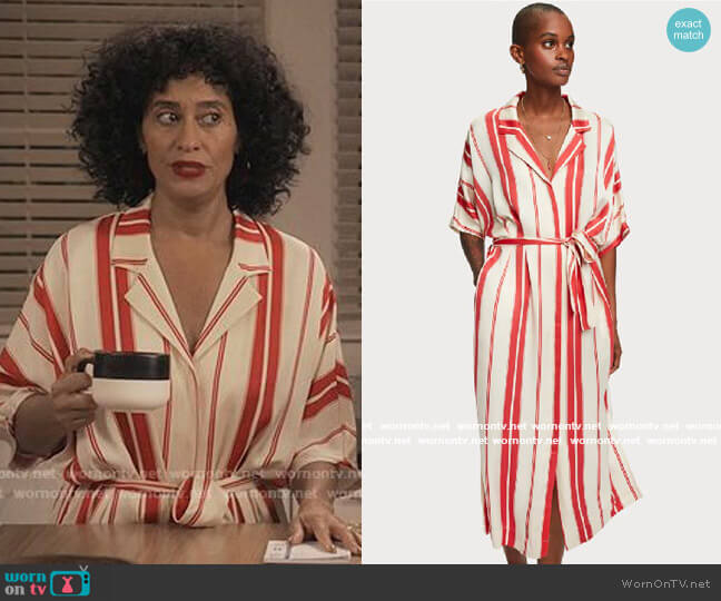 Scotch & Soda Viscose Satin Shirt Dress worn by Rainbow Johnson (Tracee Ellis Ross) on Blackish
