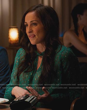 Cara's green metallic keyhole blouse on BlackAF