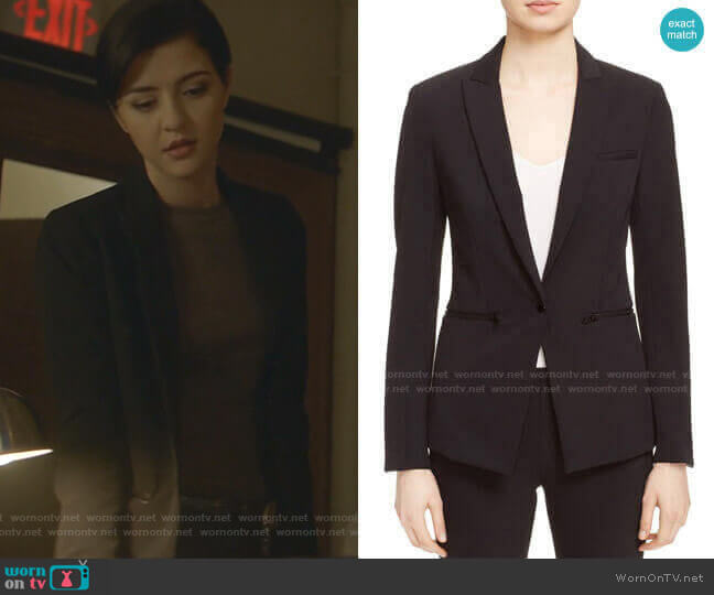 Scuba Jacket by Veronica Beard worn by Katie Findlay on Nancy Drew