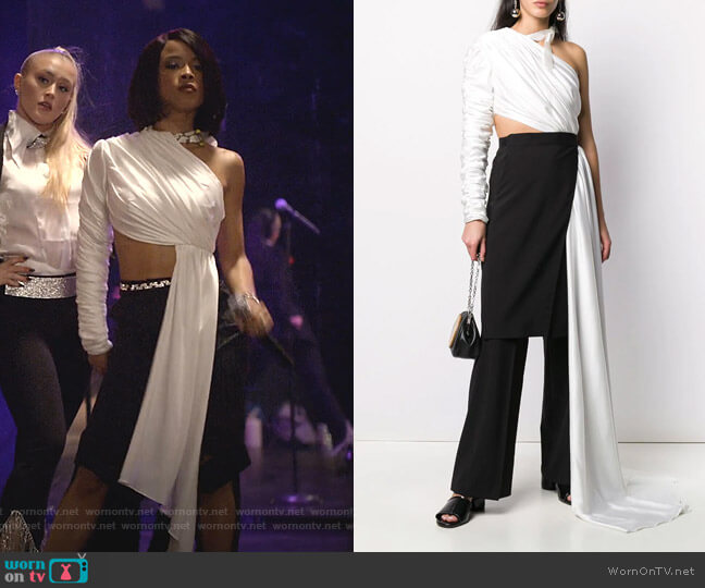 Ruched One-Shoulder Top by Seen Users worn by Tiana Brown (Serayah McNeill) on Empire