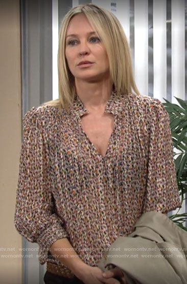 Sharon's mini printed blouse on The Young and the Restless