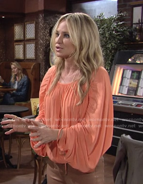 Sharon's orange ruched sleeve blouse on The Young and the Restless