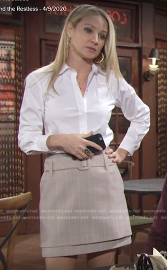 Sharon's white button down and beige belted skirt on The Young and the Restless