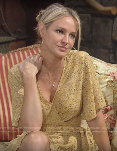 Sharon's yellow wrap dress on The Young and the Restless