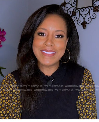 Sheinelle's black floral sleeve sweater on Today
