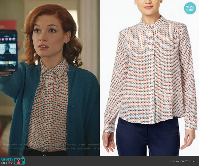 Silk Fish-Print Shirt by Weekend Max Mara worn by Zoey Clarke (Jane Levy) on Zoeys Extraordinary Playlist