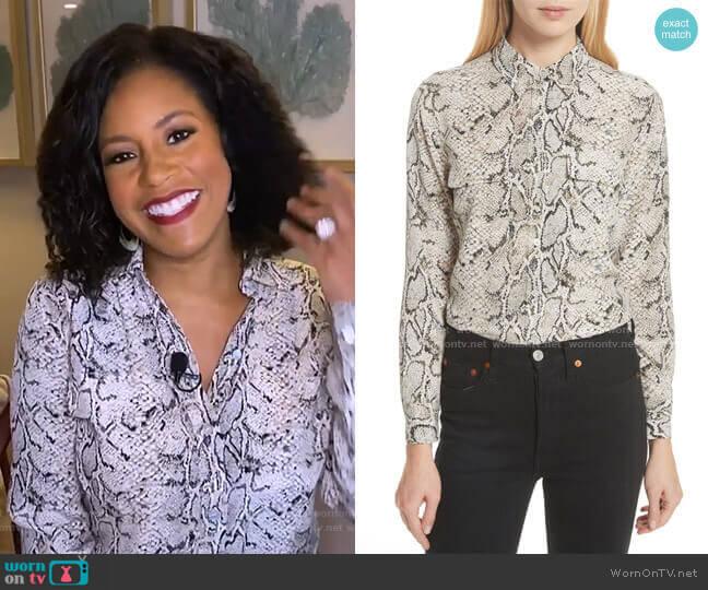 Slim Signature Python Print Silk Shirt by Equipment worn by Sheinelle Jones  on Today