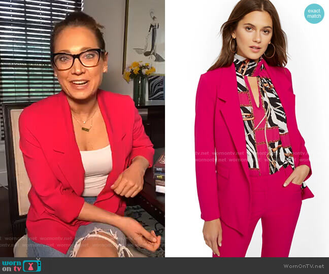Soft Madie Blazer - 7th Avenue by New York & Company worn by Ginger Zee  on Good Morning America