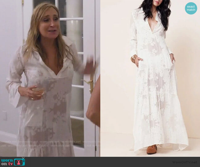 Boho Side Slit Lace Maxi Dress by Sonja worn by Sonja Morgan  on The Real Housewives of New York City