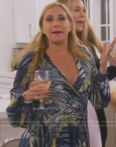 Sonja's tropical print maxi dress on The Real Housewives of New York City