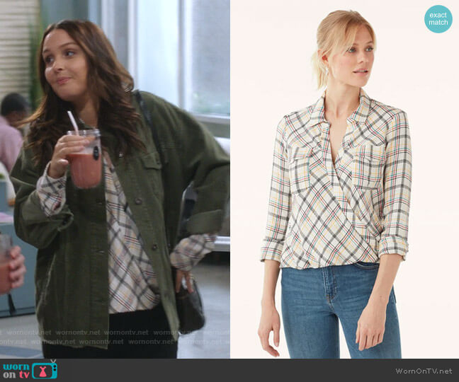 Driftwood Plaid Surplice by Splendid worn by Jo Wilson (Camilla Luddington) on Greys Anatomy