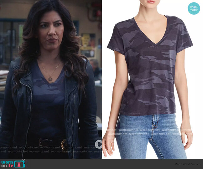 Kate V-Neck Camo Tee by Splendid worn by Rosa Diaz (Stephanie Beatriz) on Brooklyn Nine-Nine