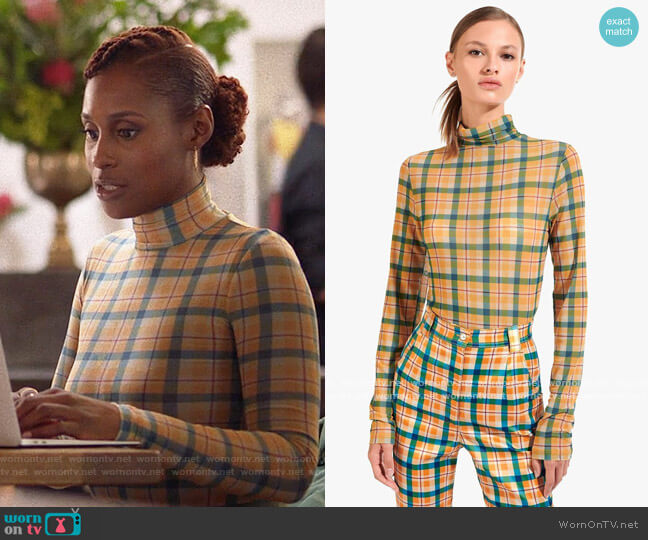 Staud Helvin Top in Butterscotch Plaid worn by Issa Dee (Issa Rae) on Insecure
