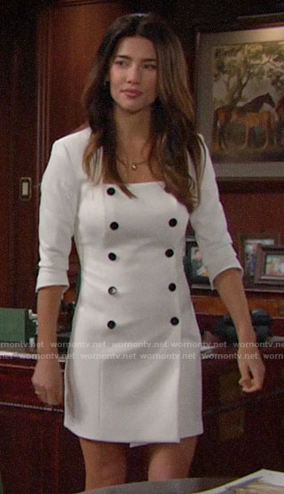 Steffy's white double-breasted dress on The Bold and the Beautiful