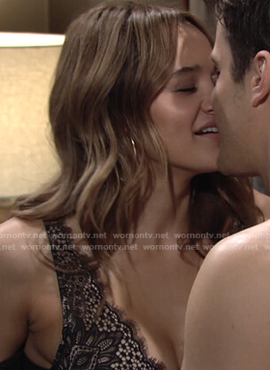 Summer's black lace bra on The Young and the Restless
