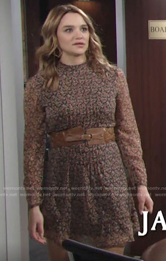Summer's floral long sleeved mini dress on The Young and the Restless