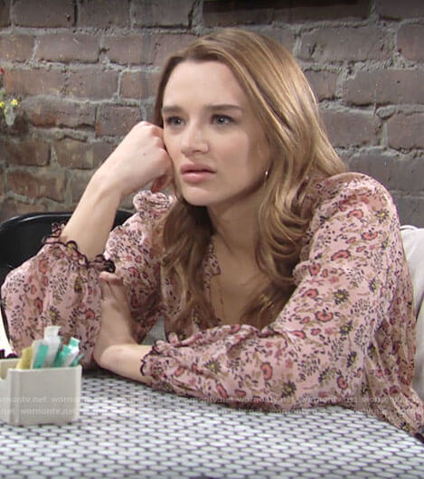 Summer's pink floral blouse on The Young and the Restless