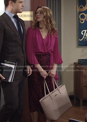 Summer's pink wrap top and leopard skirt on The Young and the Restless