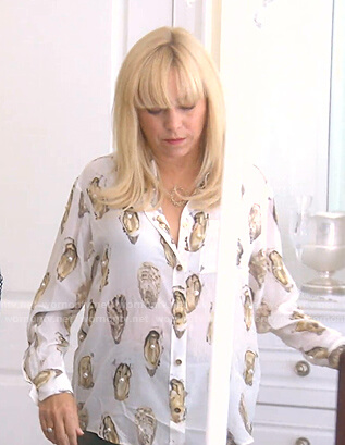 Sutton's white oyster print blouse on The Real Housewives of Beverly Hills