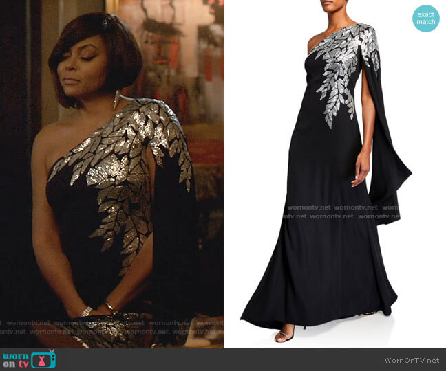 Crepe One-Shoulder Gown with Draped-Sleeve by Tadashi Shoji worn by Cookie Lyon (Taraji P. Henson) on Empire