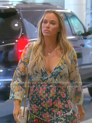 Teddi's mixed floral print mini dress on The Real Housewives of Beverly Hills