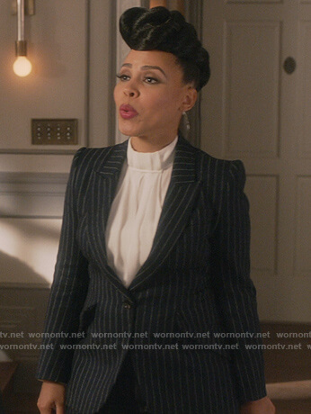 Tegan's pinstripe blazer on How to Get Away with Murder