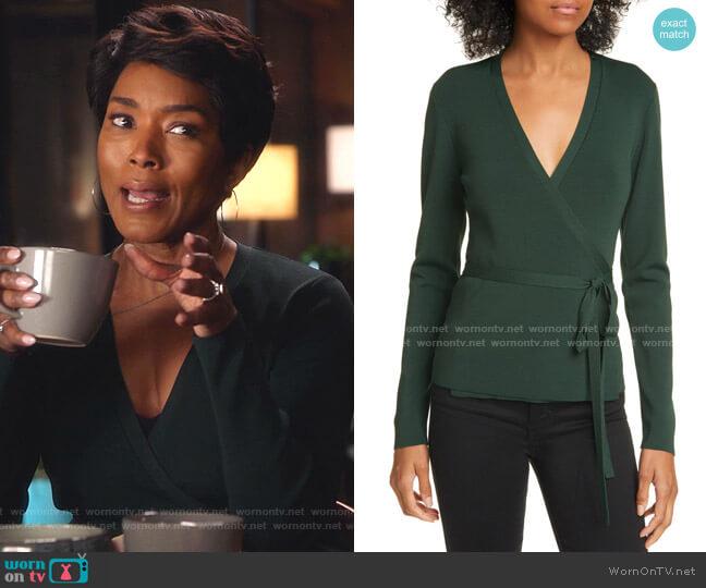 Gworji Long Sleeve Wrap Sweater by Ted Baker worn by Athena Grant (Angela Bassett) on 9-1-1