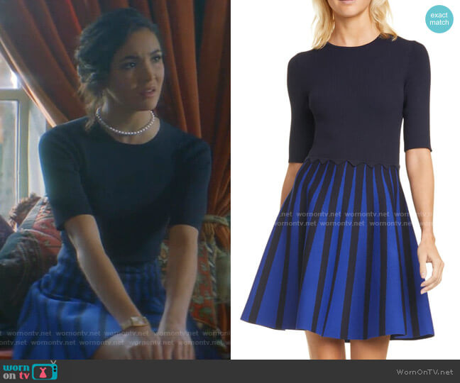 Salyee Short Sleeve Knit Skater Dress by Ted Baker worn by Bess (Maddison Jaizani) on Nancy Drew