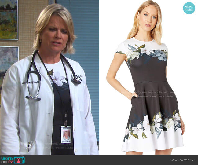 Louva Opal Print Dress by Ted Baker worn by Kayla Brady (Mary Beth Evans) on Days of our Lives