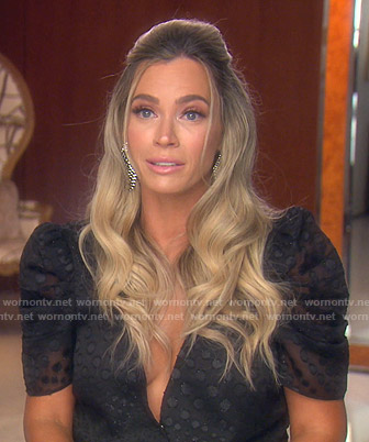 Teddi's black polka dot sheer top on The Real Housewives of Beverly Hills
