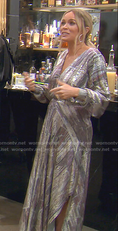 Teddi's metallic surplice maxi dress on The Real Housewives of Beverly Hills
