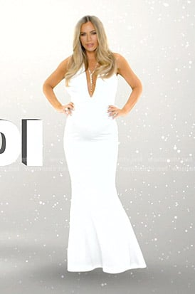 Teddi's white halter neck gown on The Real Housewives of Beverly Hills Opening Credits
