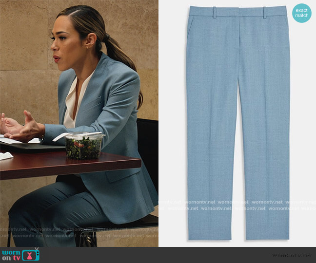 Treeca Pant In Sleek Flannel by Theory worn by Emily Lopez (Jessica Camacho) on All Rise