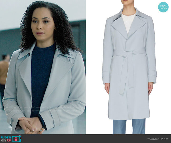 Theory Oaklane Trench worn by Macy Vaughn (Madeleine Mantock) on Charmed
